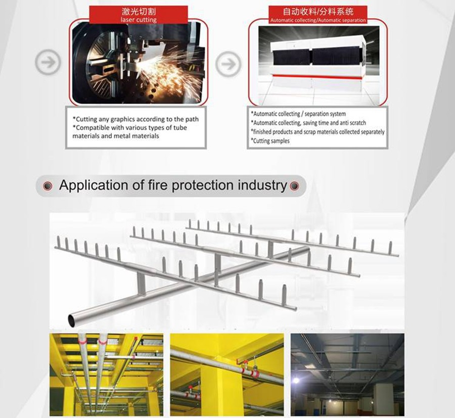 laser tube cutting for fire pipeline
